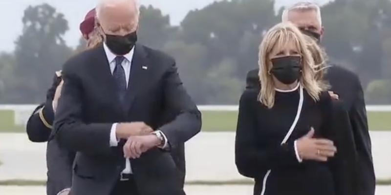 Biden Checks the Time As Dead Service Members Return Home